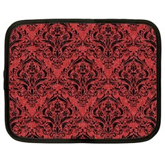 Damask1 Black Marble & Red Denim Netbook Case (large) by trendistuff