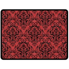 Damask1 Black Marble & Red Denim Fleece Blanket (large)  by trendistuff
