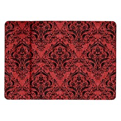 Damask1 Black Marble & Red Denim Samsung Galaxy Tab 10 1  P7500 Flip Case by trendistuff