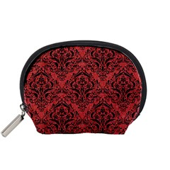 Damask1 Black Marble & Red Denim Accessory Pouches (small)  by trendistuff