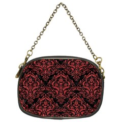 Damask1 Black Marble & Red Denim (r) Chain Purses (two Sides)  by trendistuff
