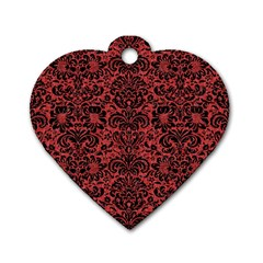 Damask2 Black Marble & Red Denim Dog Tag Heart (one Side) by trendistuff