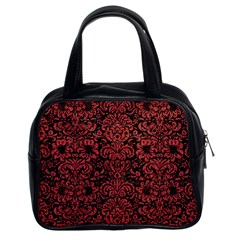 Damask2 Black Marble & Red Denim (r) Classic Handbags (2 Sides)