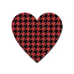 Houndstooth1 Black Marble & Red Denim Heart Magnet by trendistuff