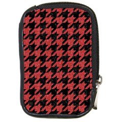 Houndstooth1 Black Marble & Red Denim Compact Camera Cases