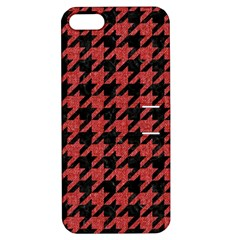 Houndstooth1 Black Marble & Red Denim Apple Iphone 5 Hardshell Case With Stand by trendistuff