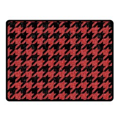 Houndstooth1 Black Marble & Red Denim Double Sided Fleece Blanket (small)  by trendistuff