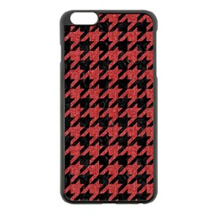 Houndstooth1 Black Marble & Red Denim Apple Iphone 6 Plus/6s Plus Black Enamel Case by trendistuff