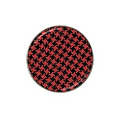 Houndstooth2 Black Marble & Red Denim Hat Clip Ball Marker by trendistuff