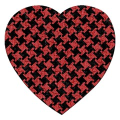 Houndstooth2 Black Marble & Red Denim Jigsaw Puzzle (heart)