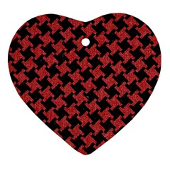 Houndstooth2 Black Marble & Red Denim Heart Ornament (two Sides) by trendistuff