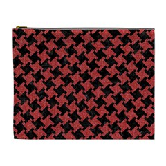 Houndstooth2 Black Marble & Red Denim Cosmetic Bag (xl) by trendistuff