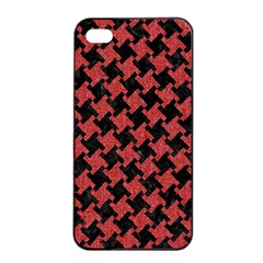 Houndstooth2 Black Marble & Red Denim Apple Iphone 4/4s Seamless Case (black) by trendistuff