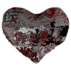 Graffiti Large 19  Premium Flano Heart Shape Cushions by ValentinaDesign