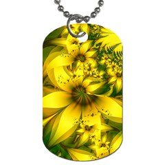 Beautiful Yellow Green Meadow Of Daffodil Flowers Dog Tag (two Sides) by jayaprime
