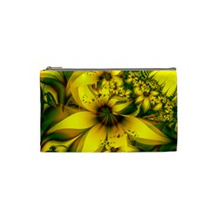 Beautiful Yellow Green Meadow Of Daffodil Flowers Cosmetic Bag (small)  by jayaprime