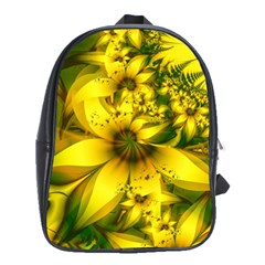 Beautiful Yellow Green Meadow Of Daffodil Flowers School Bag (large) by jayaprime