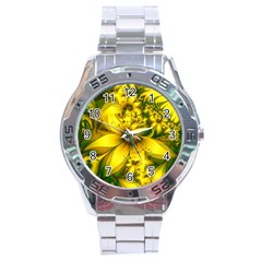 Beautiful Yellow Green Meadow Of Daffodil Flowers Stainless Steel Analogue Watch by jayaprime