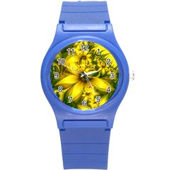 Beautiful Yellow Green Meadow Of Daffodil Flowers Round Plastic Sport Watch (s) by jayaprime