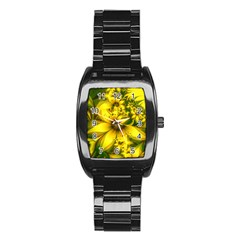 Beautiful Yellow Green Meadow Of Daffodil Flowers Stainless Steel Barrel Watch by jayaprime