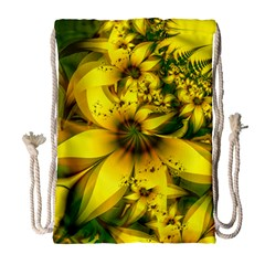 Beautiful Yellow Green Meadow Of Daffodil Flowers Drawstring Bag (large) by jayaprime