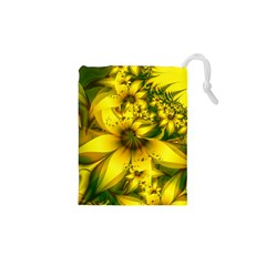Beautiful Yellow Green Meadow Of Daffodil Flowers Drawstring Pouches (xs)  by jayaprime