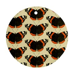 Butterfly Butterflies Insects Round Ornament (two Sides) by Celenk