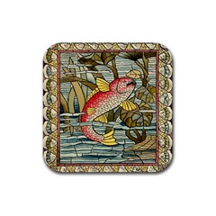 Fish Underwater Cubism Mosaic Rubber Square Coaster (4 Pack)  by Celenk