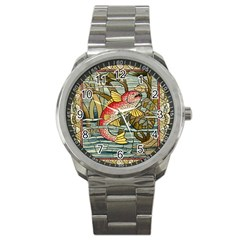 Fish Underwater Cubism Mosaic Sport Metal Watch by Celenk