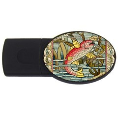 Fish Underwater Cubism Mosaic Usb Flash Drive Oval (4 Gb) by Celenk