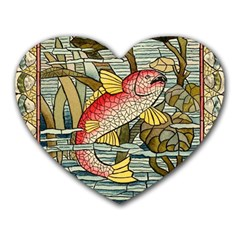 Fish Underwater Cubism Mosaic Heart Mousepads by Celenk