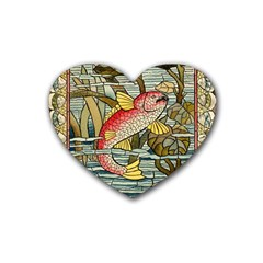 Fish Underwater Cubism Mosaic Heart Coaster (4 Pack)