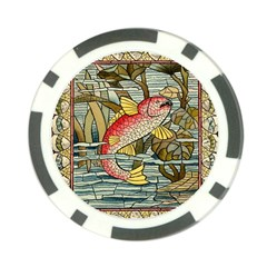 Fish Underwater Cubism Mosaic Poker Chip Card Guard by Celenk