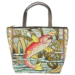 Fish Underwater Cubism Mosaic Bucket Bags by Celenk