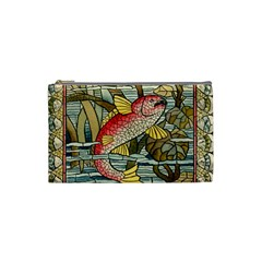 Fish Underwater Cubism Mosaic Cosmetic Bag (small)  by Celenk
