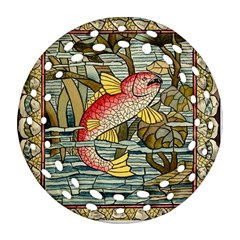 Fish Underwater Cubism Mosaic Round Filigree Ornament (two Sides) by Celenk
