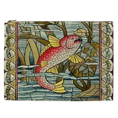 Fish Underwater Cubism Mosaic Cosmetic Bag (xxl)  by Celenk