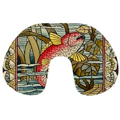 Fish Underwater Cubism Mosaic Travel Neck Pillows by Celenk