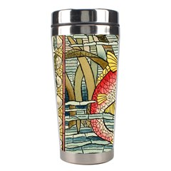 Fish Underwater Cubism Mosaic Stainless Steel Travel Tumblers by Celenk