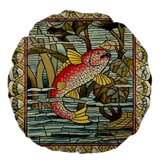 Fish Underwater Cubism Mosaic Large 18  Premium Flano Round Cushions by Celenk