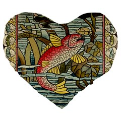 Fish Underwater Cubism Mosaic Large 19  Premium Flano Heart Shape Cushions by Celenk