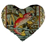 Fish Underwater Cubism Mosaic Large 19  Premium Flano Heart Shape Cushions Back
