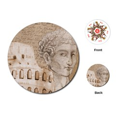 Colosseum Rome Caesar Background Playing Cards (round)  by Celenk