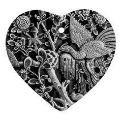 Black And White Pattern Texture Ornament (heart) by Celenk