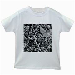Black And White Pattern Texture Kids White T Shirts
