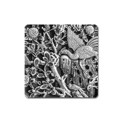 Black And White Pattern Texture Square Magnet by Celenk