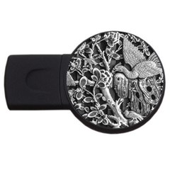 Black And White Pattern Texture Usb Flash Drive Round (4 Gb) by Celenk