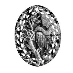 Black And White Pattern Texture Oval Filigree Ornament (two Sides) by Celenk