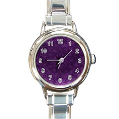 Background Purple Mandala Lilac Round Italian Charm Watch by Celenk