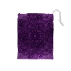 Background Purple Mandala Lilac Drawstring Pouches (medium)  by Celenk